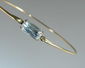 Crystal Vintage Glass Gold Bangle Bracelet, Gold Bangle Bracelet, Gold Bracelet, Bridesmaid Gift Ideas (G106G,)