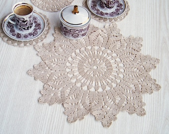 Lace Crochet  Serving Set Coasters, Handmade Coasters Doily, Lace Crochet Table Decor