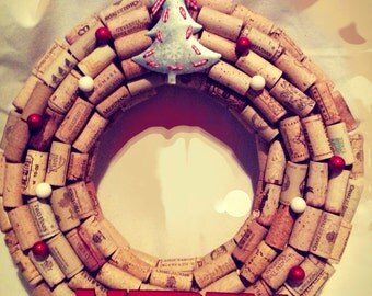 Holiday cork wreath