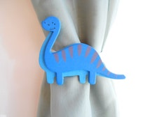 Blue Dinosaur Curtain Tie Backs Nursery Decor Baby Boy