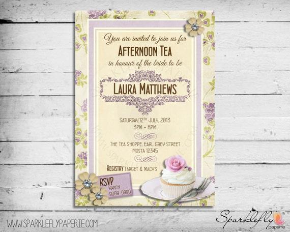Vintage Tea Party Wedding Invitations: Items Similar To Vintage Purple & Cream Afternoon High Tea
