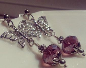 Butterfly Amethyst Earrings - Dangle Earrings - Earrings with Butterfly Charms - Monarch Butterfly