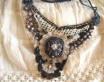 Mystic dreamy Necklace, recycle materials, HANDMADE!