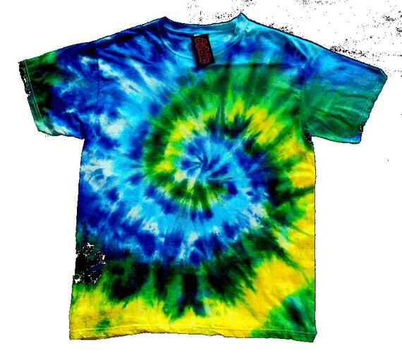 geen yellow spiral tie dye shirt