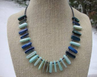 Blue and Green Dyed Shell Beaded Necklace