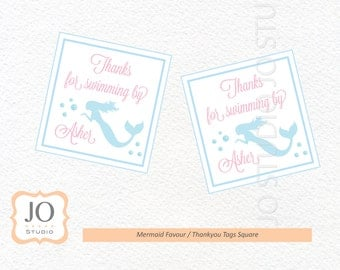 Mermaid Themed Favour Tags / Thankyou Tags Square / Mermaid Party