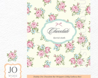 Shabby Chic Themed Chocolate Bar Wrappers / Vintage Shabby Chic Birthday