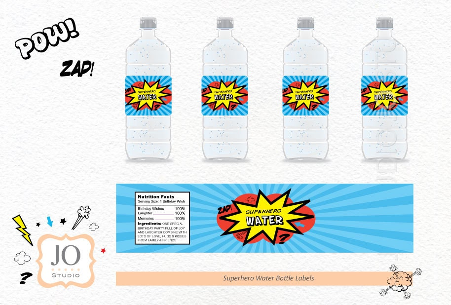 superhero themed water bottle label    superhero party    red