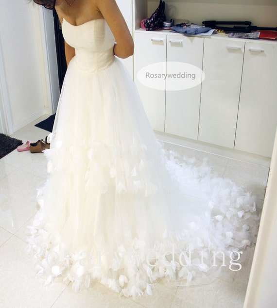 Romantic ivory tulle flower hem wedding dress