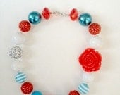 Light blue, White,Red, Dr.Seus Inspired  Baby, Toddler, Girl Chunky Necklace, Bubblegum Necklace