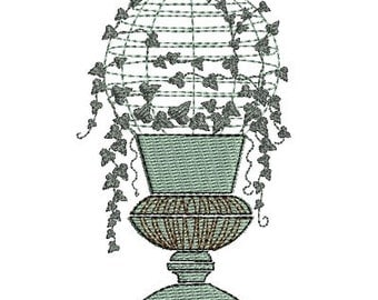 Instant Download Machine Embroidery pot of ivy
