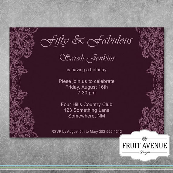 Elegant Adult Birthday Party Invitation Printable