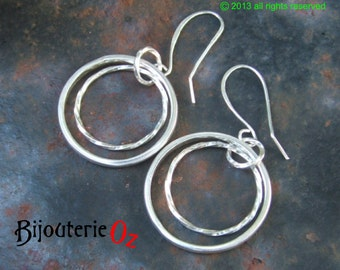 Silver hoop earrings, Double hoop dangle earrings, Circle earrings handmade by BijouterieOz