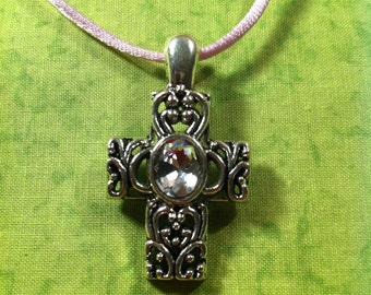 Petite Rhinestone Cross Necklace