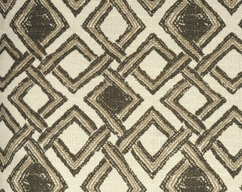 Home Decor Fabric - Designer Fabric - Cotton - Trellis - Lattice - Fretwork - Grey - Upholstery Fabric by the Yard