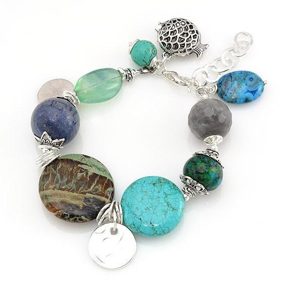 Turquoise Bracelet Chunky Gemstone Bracelet Fish Charm Bracelet Agate Jewelry Gemstone Jewelry