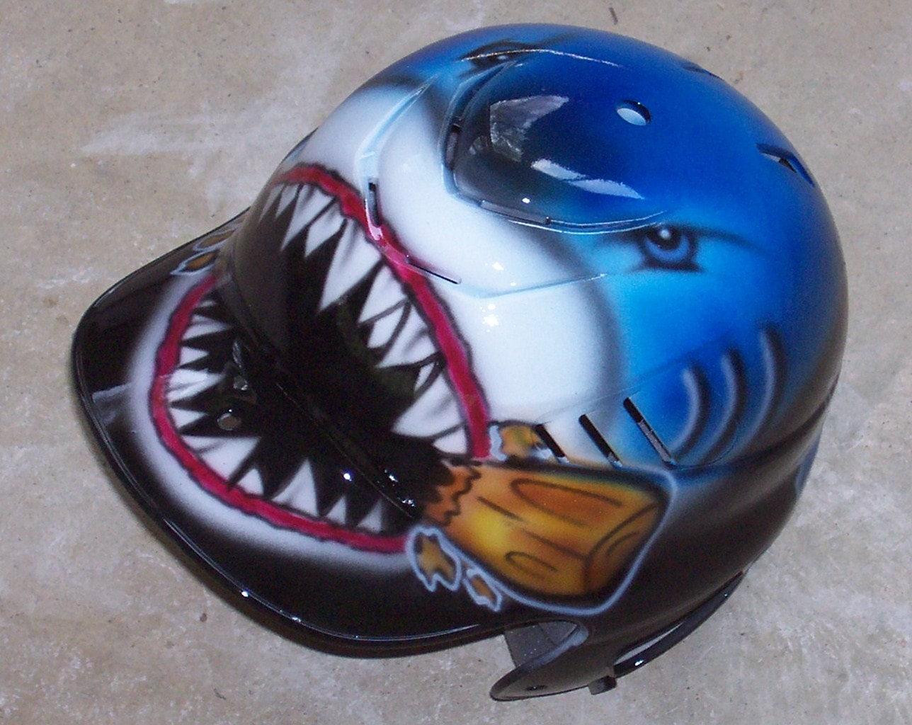 Airbrush Shark Batting Helmet Baseball Softball New