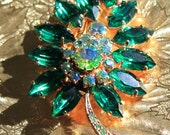 Vintage Brooch with Green and Aurora Borealis Rhinestones