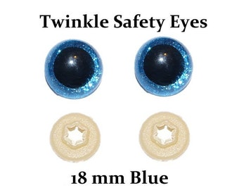 18 mm Safety Eyes  Blue Twinkle  with Round Pupil (One Pair)