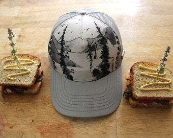 Cut Threads, Trucker Hat, Tree Drawing,
