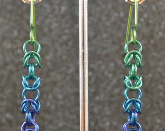 Blue-Green Niobium Byzantine Chain Earrings