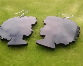 Beautiful laser cut acrylic Soul Sista Afro silhouette earrings in black