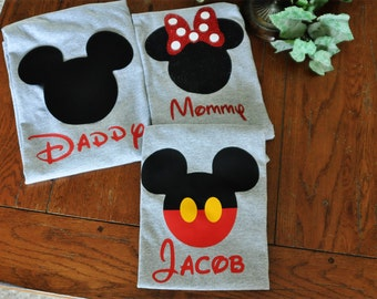 Custom Disney Family Matching Shirts Grey/Mickey Mouse Minnie Mouse Inspired/Disney World/Disneyland/Glitter Available/Personalized