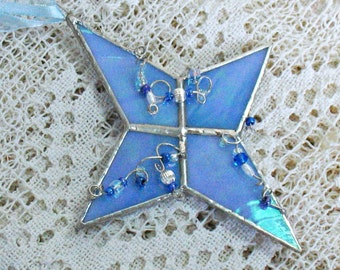Blue stained glass star, blue sun catcher, Christmas window hanging decoration, tree ornament,  blue ornament, Christmas holiday ornament