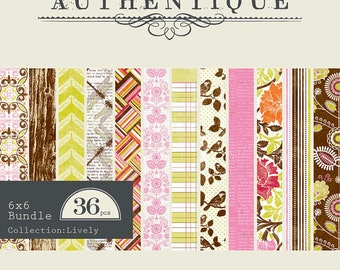 """AUTHENTIQUE Lively Collection, 6"""" X 6"""" bundle, paper pad, 36 sheets, scrapbooking and paper crafts"""