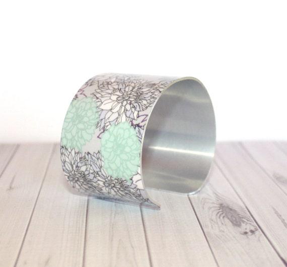 IVY Cuff Bracelet - Metal Cuff - Aluminum Cuff Bracelet - Large Bold Bracelet - Wide Cuff Jewelry - Floral Bracelet