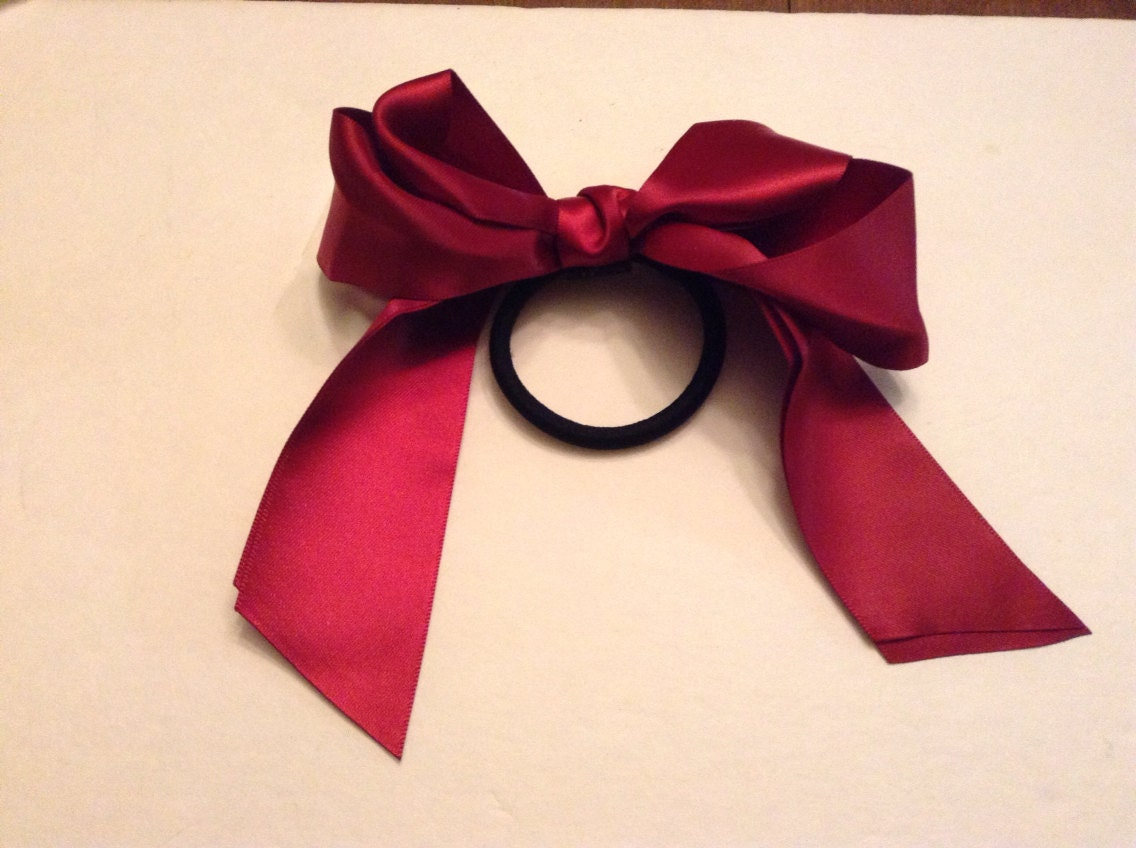 handmade wine color ribbon bow hair tie by ironcherry
