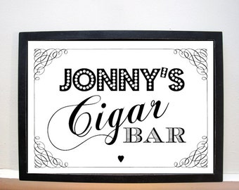 Personalised Wedding Cigar Bar Sign - A4 wedding sign - vintage style