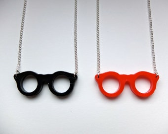 SALE! Red Glasses Necklace - Handmade with Silver Plated Chain