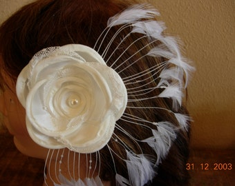 Bridal Hairpiece, Wedding Headpiece, Bridal Hair Flower, Feathered Fascinator, Bridal Accessory, Bridesmaid Hairpiece, Prom Hairpiece