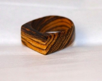 Swirly Ring, Wooden Jewelry, Flat Top Ring, Custom Ring Design