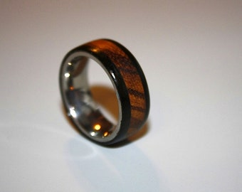 Mens Wedding Band, Wood Wedding Band, Titanium Wood Ring, Zebra Ring, Custom Jewelry
