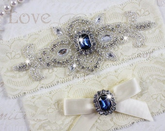 SALE - MADRID II - Sapphire Blue Wedding Garter Set, Lace Garter, Rhinestone Crystal Bridal Garters, Something Blue