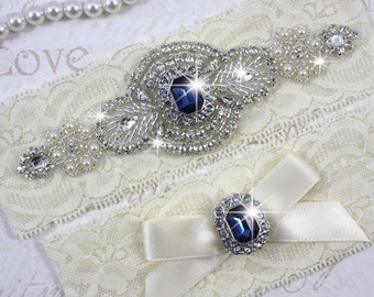 SALE - PRISCILLA - Blue Sapphire Garter Set, Wedding Stretch Lace Garter, Rhinestone Crystal Bridal Garters, Something Blue