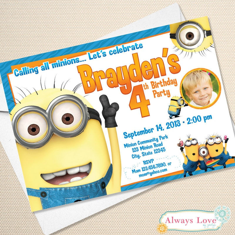 Resource image intended for printable minion invitations