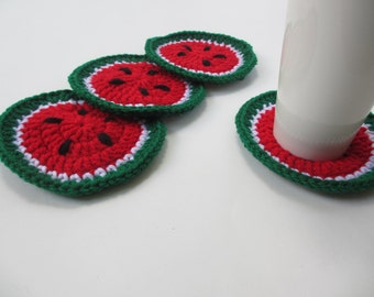 Crocheted Watermelon Coasters