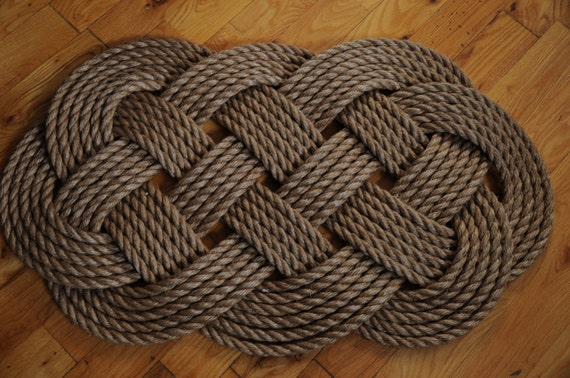 Large rope rug nautical decor nautical rope mat heavy by for Heavy rope for nautical use