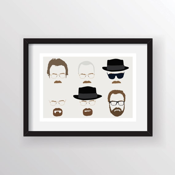 Walter White (Mr White, Heisenberg) Breaking Bad - Minimalist A3 Digital Art Print, Wall Poster Limited Edition of 250