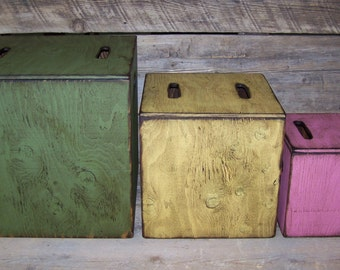 3-N-1 Kids toy boxes. 3 different size boxes that fit inside one another. Storage for toys and much more.