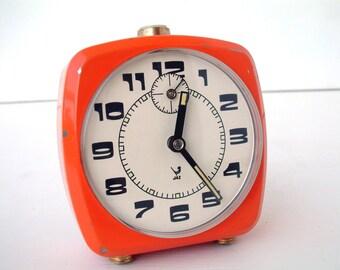 French vintage ORANGE JAZ mechanical alarm clock. 1970s