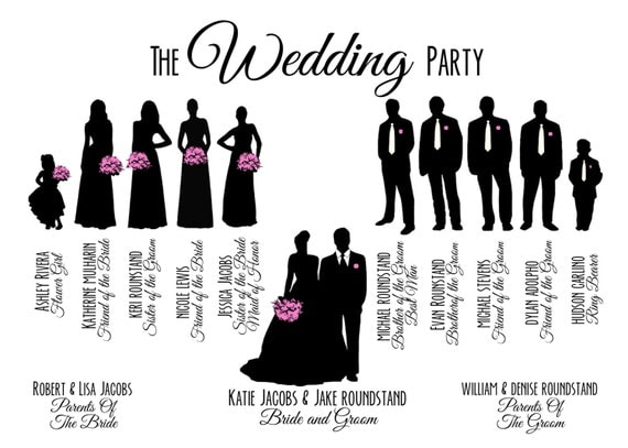 items similar to custom printable wedding party bridal party silhouette program card on etsy. Black Bedroom Furniture Sets. Home Design Ideas