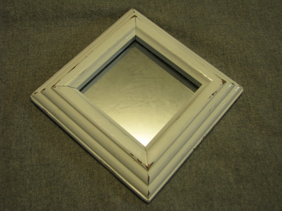 Upcycled small square mirror wood framed white shabby chic for Small white framed mirrors
