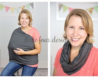 Heather Charcoal Gray Infinity Scarf Nursing Cover - Nursing Scarf