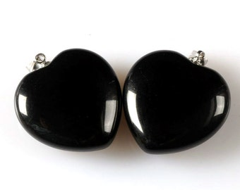 g2338 Two 25mm Black obsidian heart pendant focal bead