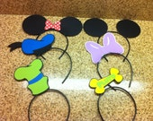 Mickey Mouse and friends party hats (6) /headbands / favors