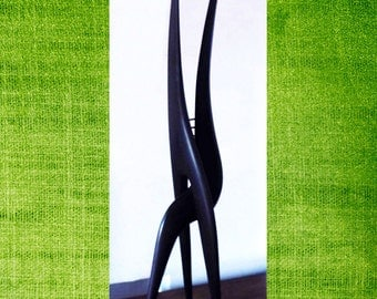 Abstract Erotic statue made with wood, matte home decor, office deco, polished wood